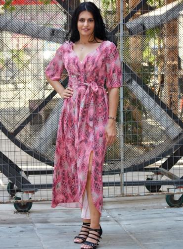 Φόρεμα maxi print ελαστικό