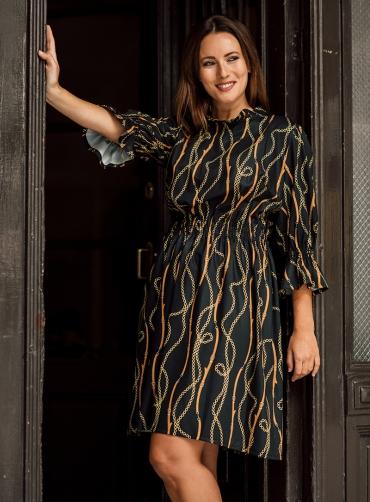 Φόρεμα κρέπ print ζώνες