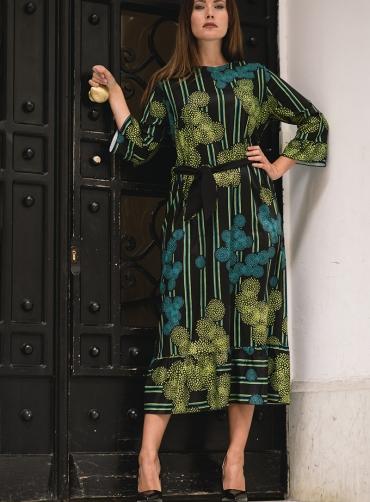 Φόρεμα print με ζώνη