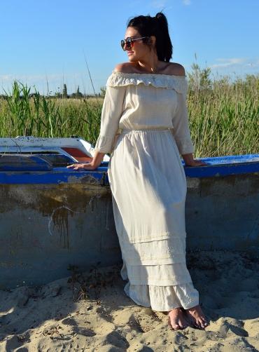 Φόρεμα βισκόζ maxi μπέζ