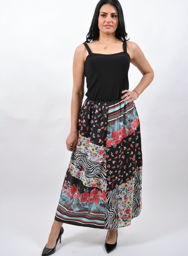 Φούστα floral ριγέ print