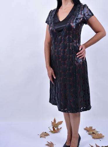 Φόρεμα δερματίνη saten