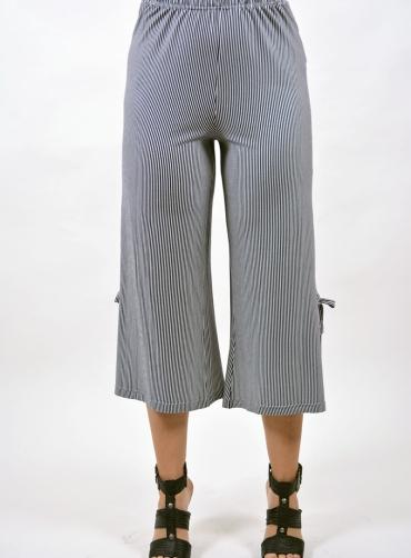 Ζίπ παντελόνα ριγέ βισκόζ