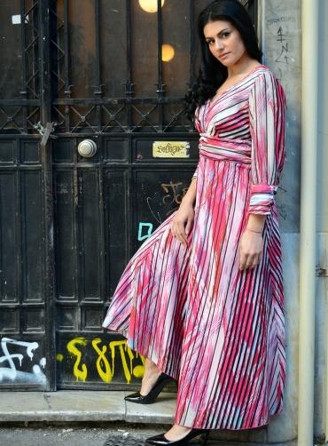 Φόρεμα ριγέ maxi