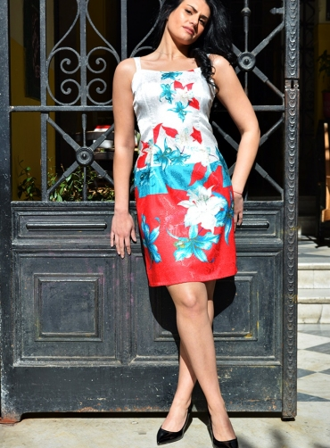 Φόρεμα saten floral
