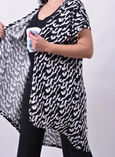 Τουνίκ βισκόζ ασπρό-μαύρη