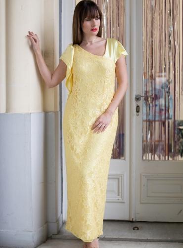 Φόρεμα δανδέλα σατέν κίτρινο