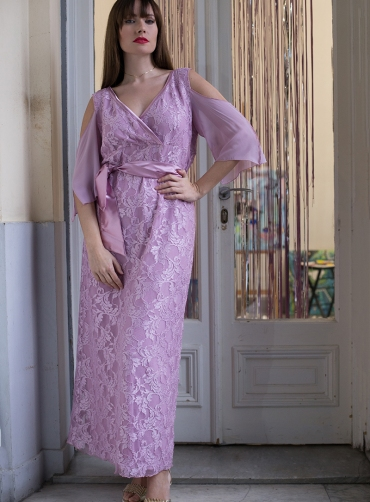 Φόρεμα δανδέλα έξωμο κρουαζέ λιλά