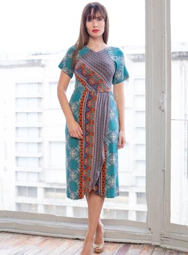 Φόρεμα  βισκόζ κρουαζέ πετρόλ