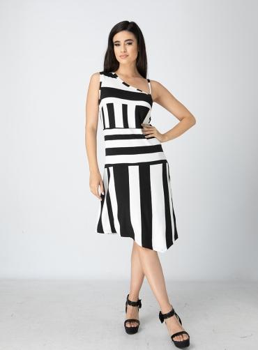 Φόρεμα βισκόζ ριγέ ελαστικό