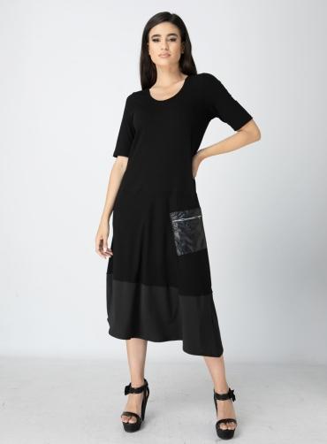 Φόρεμα βισκόζ με τσέπη
