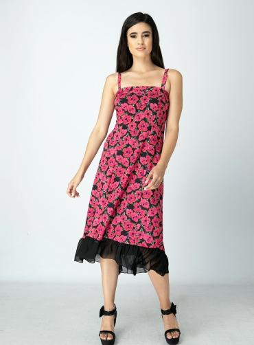 Φόρεμα floral τούλι ελαστικό