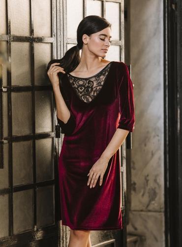 Φόρεμα βελούδο ελαστικό με δανδέλα