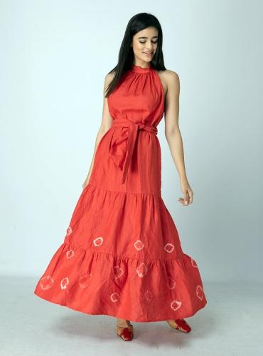 Φόρεμα λινό μάξι