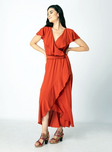 Φόρεμα κρέπ ελαστικό με ζώνη