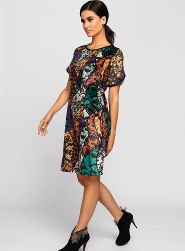 Φόρεμα βελούδο ελαστικό print