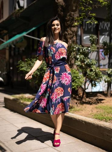Φόρεμα print ελαστικό με ζώνη