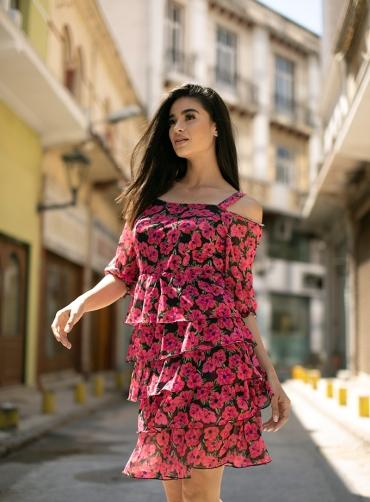 Φόρεμα τούλι ελαστικό floral