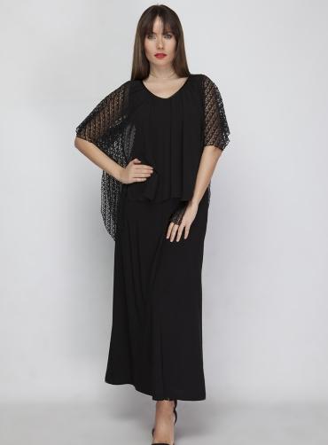 Φόρεμα maxi chiffon μαύρο