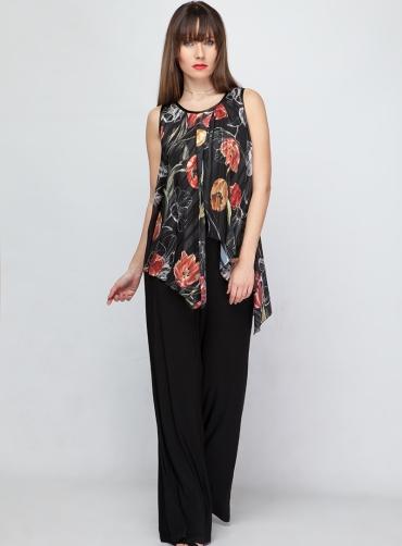 Φόρμα ελαστική floral μαύρο