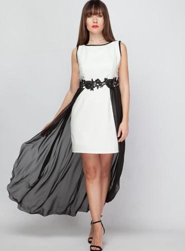 Φόρεμα κρέπ chiffon εκρού