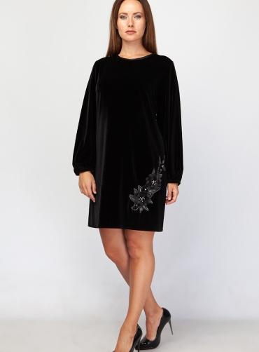 Φόρεμα chiffon βελούδο μοτίφ