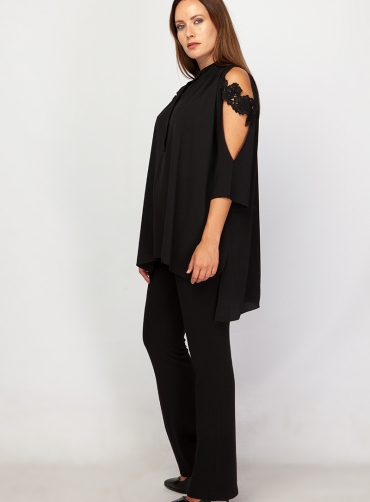 Μπλούζα κρέπ ελαστικό μοτίφ