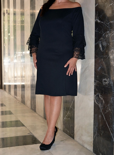 Φόρεμα πικέ ελαστικό μαύρο